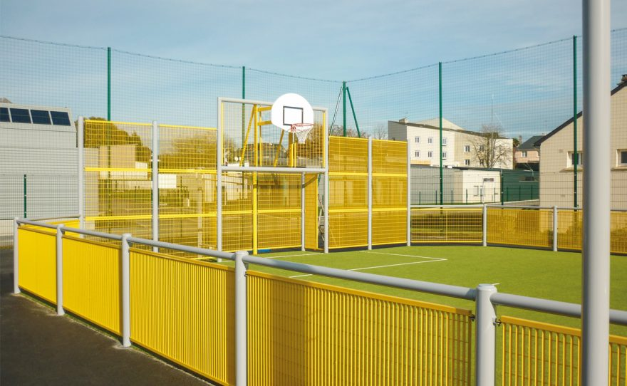 multisports pediment brooklyn model with grating panels infill Metalu HDPE basket backboard