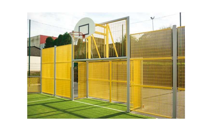 multisports pediment brooklyn model with grating panels by Metalu Plast yellow and white