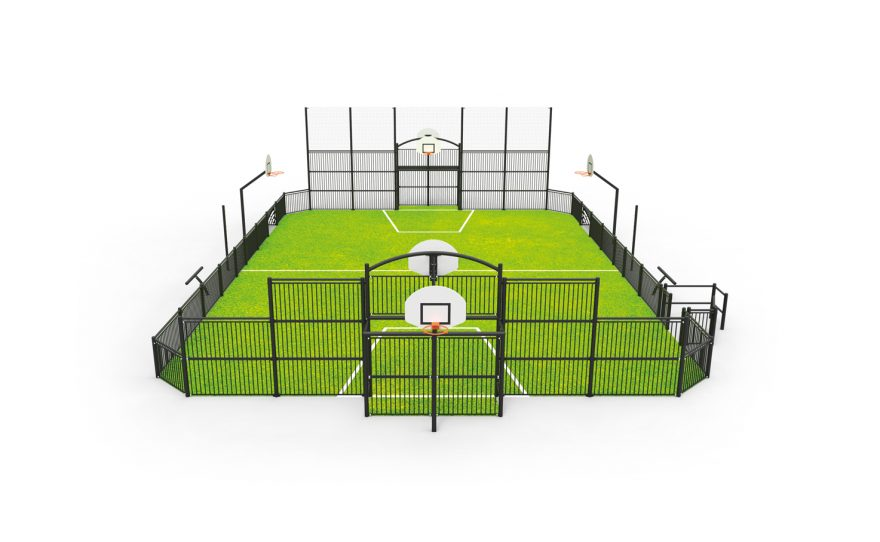 Multisport playground with steel structure and PRM passage Metalu Plast