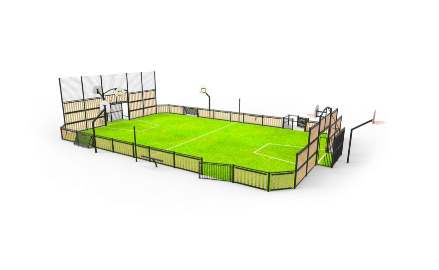 multisport field Boreal with wood panel infill Metalu Plast