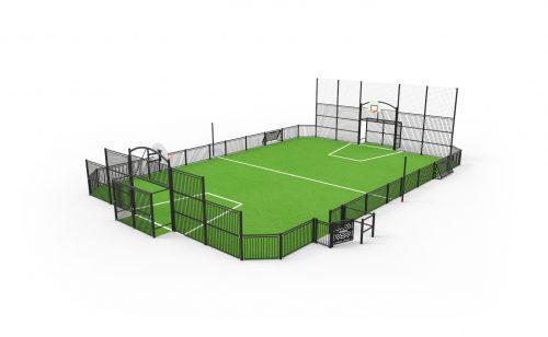 City stade deauville avec remplissage barreaudé en acier metalu Plast matériel sportif