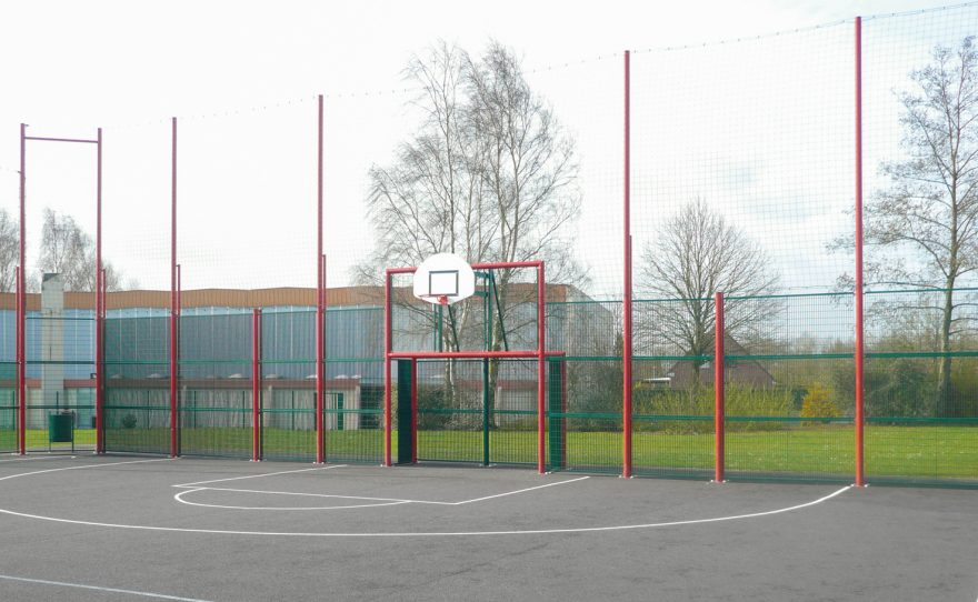 multisports pediment by Metalu Plast the Brooklyn model with grating infill and hdpe basketball backboard