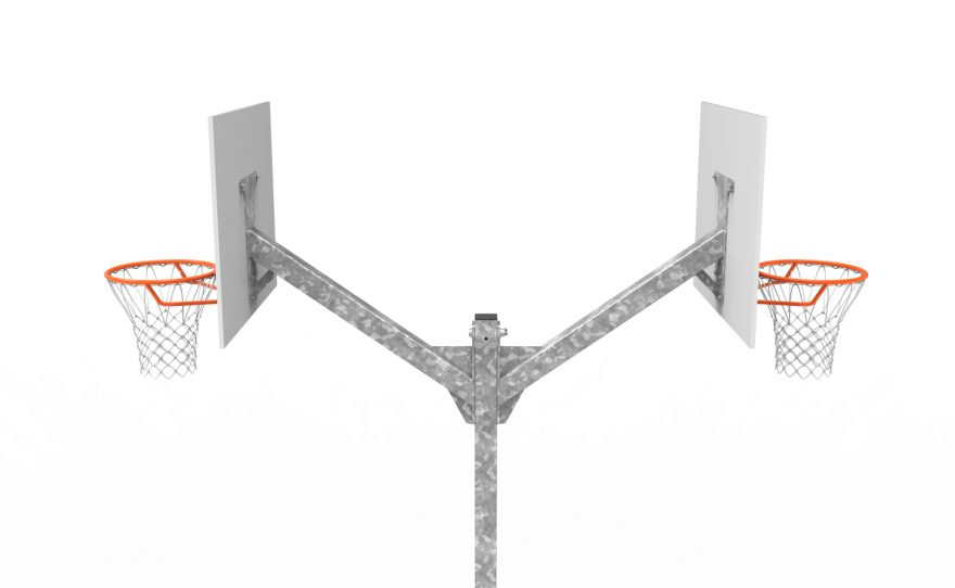 Basketball multi-directional tower 2 heads 2 rings hoops Metalu plast manufacturer of sports equipment