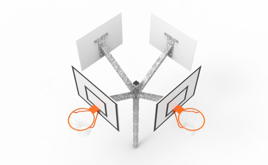 Basketball goal multi-directional tower 4 heads from above Metalu plast manufacturer of sports equipment