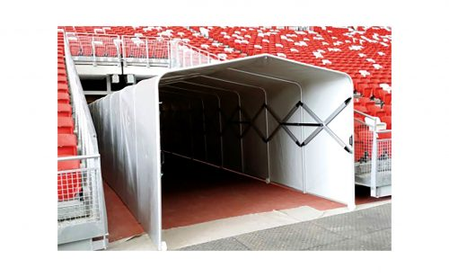 Tunnel for stadium access during big game Metalu Plast équipement football
