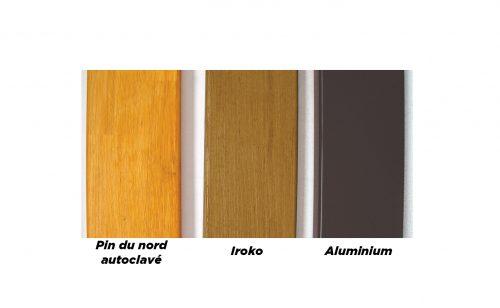 Assises de vestiaire profile aluminium iroko pin du nord Metalu Plast