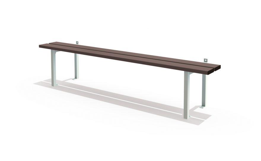 Wall and floor mounted single bench metalu plast