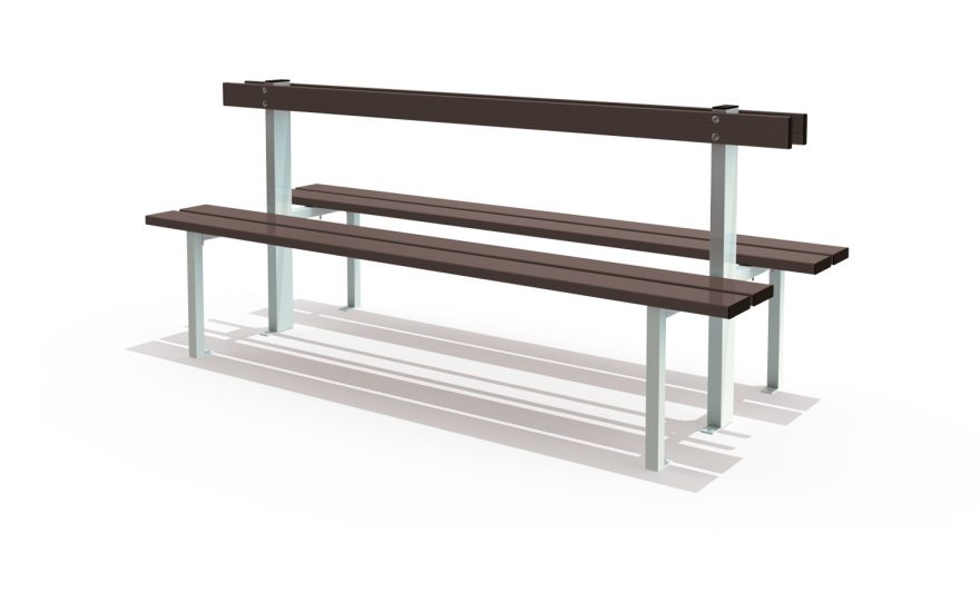 Central floor mounted bench with backrest for locker room