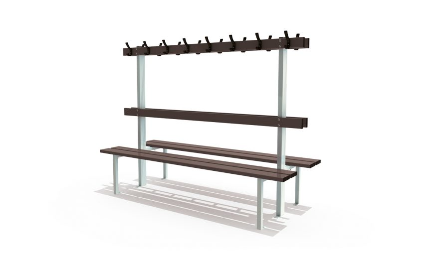 Central bench floor mounted with backrest and peg rail for locker room by Metalu Plast
