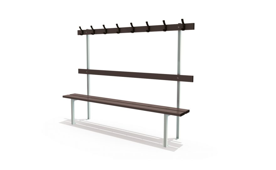 Bench with backrest, peg rail, wall and floor mounted for locker room by Metalu Plast