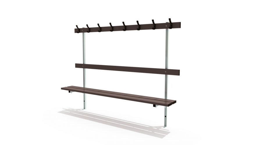 Wall mounted bench for locker room with backrest and peg rail Metalu Plast manufacturer of sports equipment