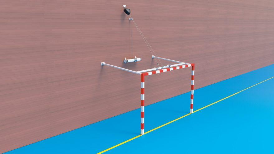 But handball relevable posé dans un gymnase