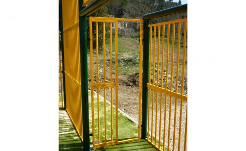 multisports playground with yellow grid by the side of the goal