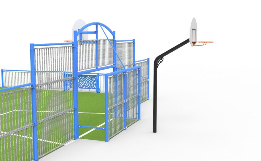 multi-sports playground with a basketball goal outside in option