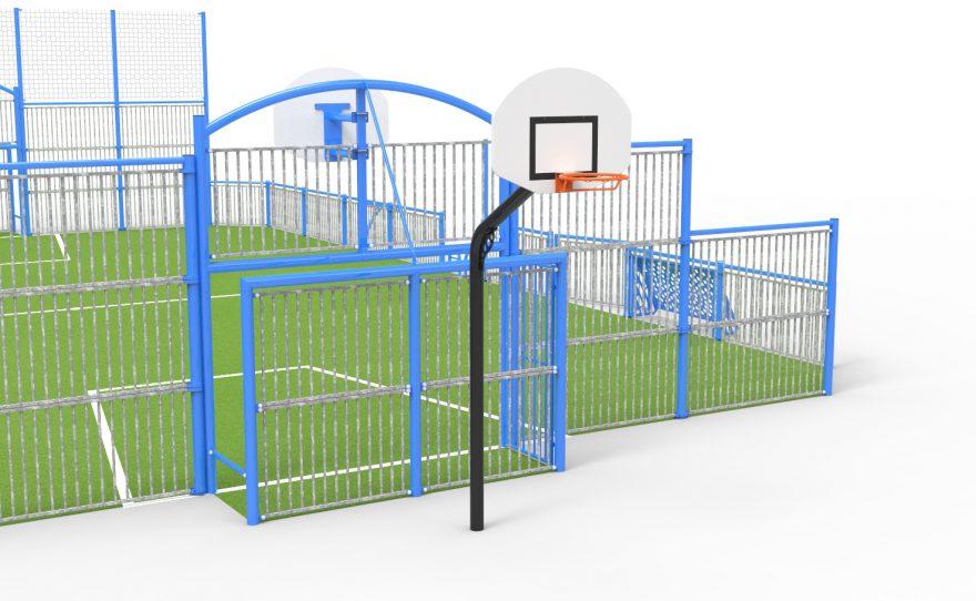 option terrain multi-sports panier de basketball supplémentaire à l'arrière du but de football handball