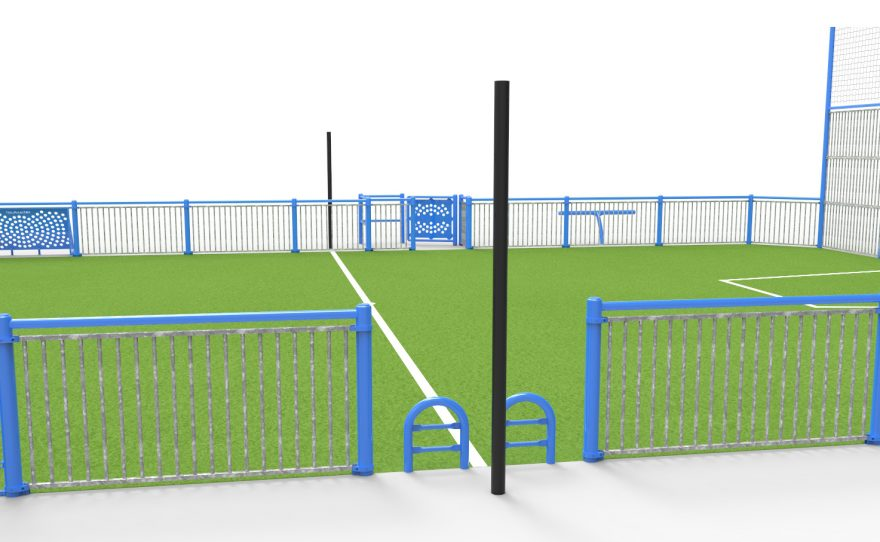 black multi-sport posts on the side of a multi-sports playground Metalu Plast