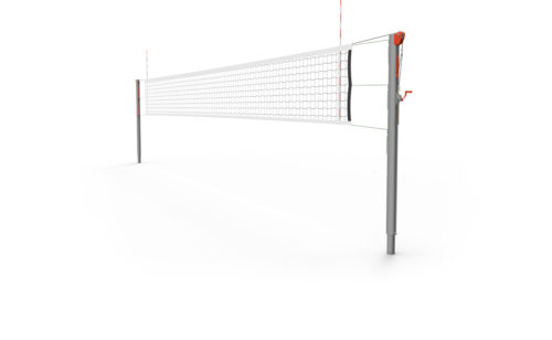 Poteaux de volley-ball haut niveaux en aluminium brossé