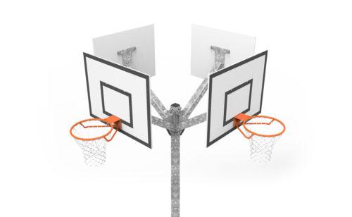 Tour de basket quatre têtes - acier galvanisé