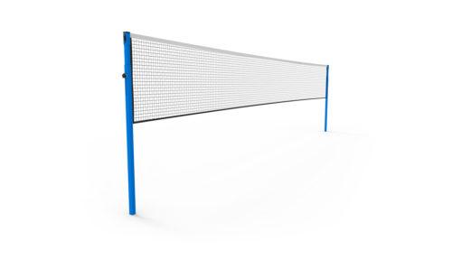 Poteaux de badminton compétition à sceller en acier plastifié bleu - hauteur réglable