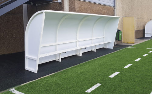 Monobloc team shelter in plastic coated aluminium structure