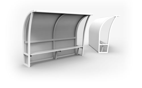 Arched monobloc dugout in plastic coated aluminium