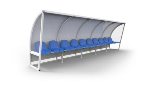Football dugout custom made aluminium structure