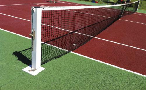 Poteaux de tennis sur platine en acier plastifié