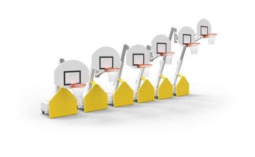 Multi-height telescopic basketball goal
