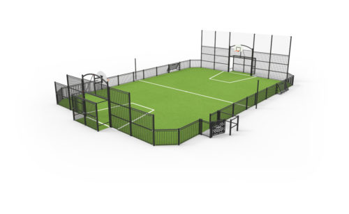 Terrain multi-sports en acier plastifié - dimension sur mesure