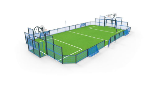 Terrain multi-sport herouville - structure acier plastifié - remplissage treillis soudé