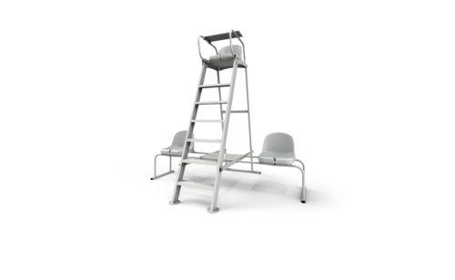 Chaise d'arbitre de tennis en aluminium plastifié blanc