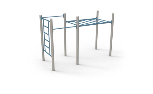 Street workout apparatus, 3 plastic-coated galvanized steel modules, non-slip and anti-corrosion texture