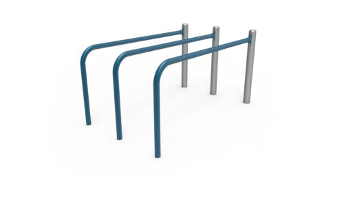 Street workout apparatus, triple parallel bars galvanized and plastic-coated steel, anti-slip and anti-corrosion texture