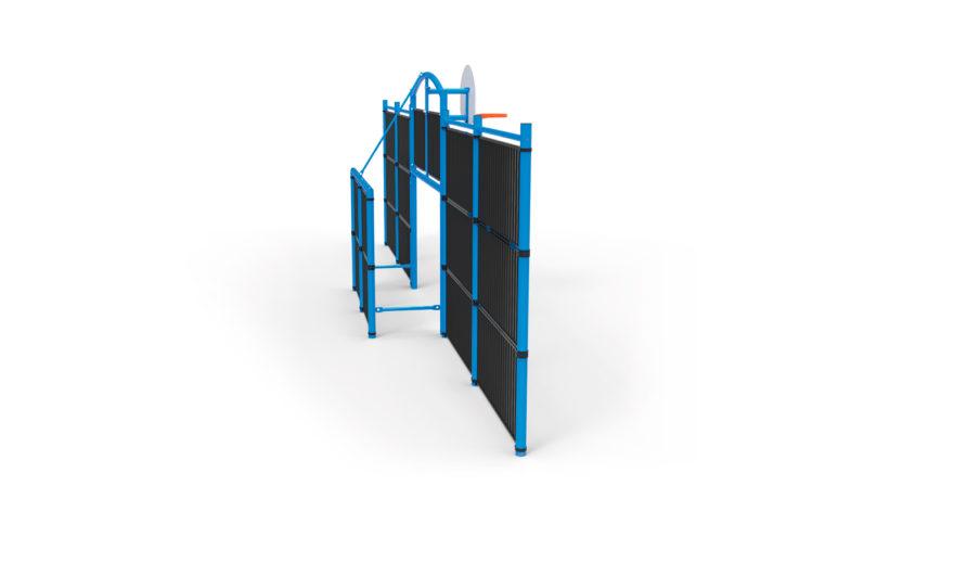But multisport classique 12 remplissage barreaudé, structure en acier galvanisé plastifié et grille barreaudée en acier galvanisé brut, but de foot et panier de basket