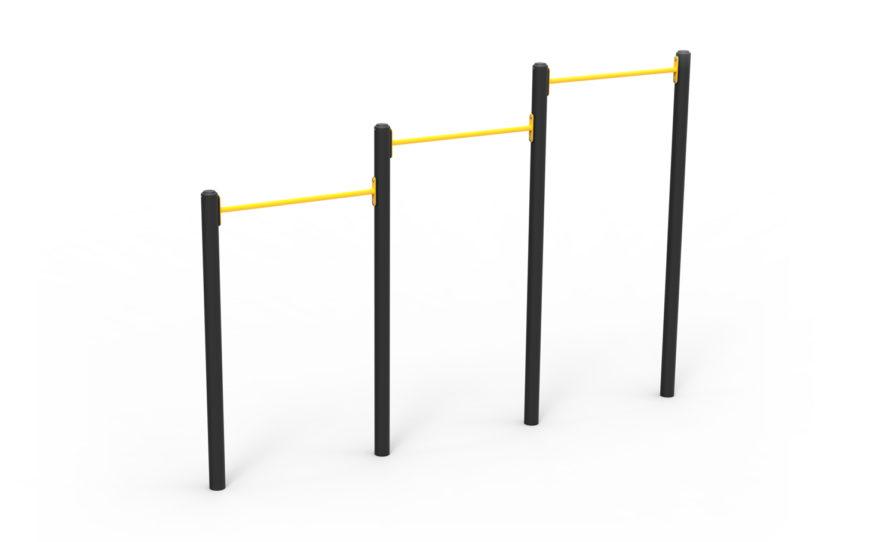 Agrès de street workout, triple barre de tractions en acier plastifié