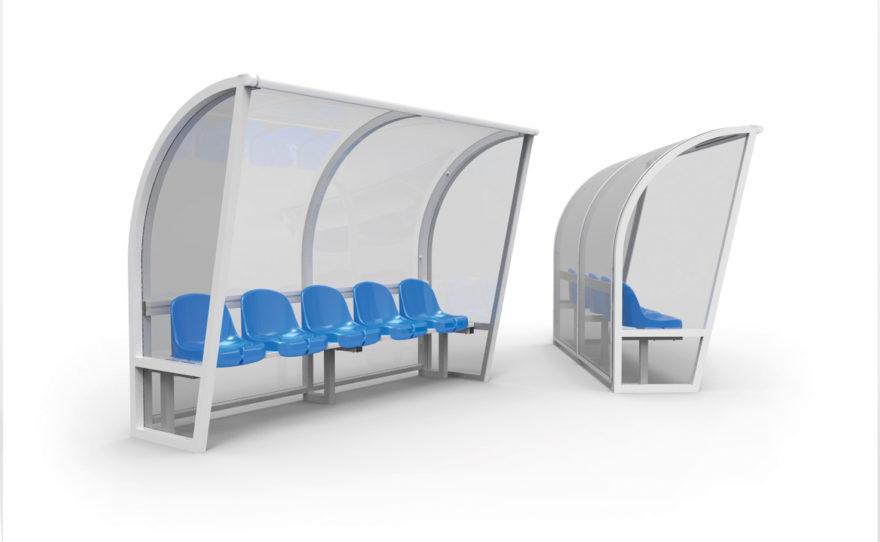 Abri de touche transparent aluminium, banc de touche sièges bleu