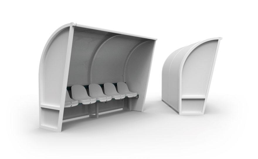 Banc de touche aluminium, côtés blancs, sièges plastique
