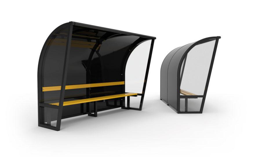 Abri de touche aluminium finition noir, côtés transparents, banc aluminium