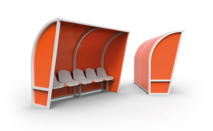 Banc de touche aluminium, remplissage orange, sièges plastique