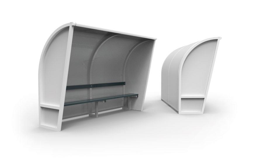 Abri de touche aluminium, remplissage côtés blancs , banc aluminium