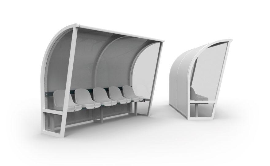 Banc de touche aluminium blanc , côtés transparents et sièges plastique